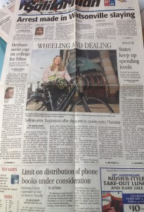 Californian 2-1-10 front page re HER Helmet Thursdays