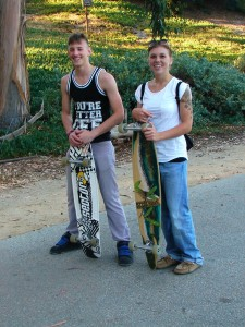Skateboarders - young military