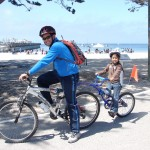 Dad & Son trailabike Del Monte Beach - longview - Mari