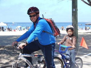 Dad & Son trailabike Del Monte Beach - closeup - Mari