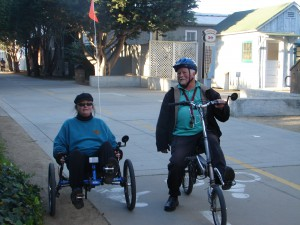 Recumbent couple and local bike activists 1-1-12 (1)