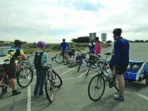 L to R: Darius and Jerrica Rike of MORCA; Frank Henderson, League instructor; Rob Cepeda of Sports Center Bicycles; Judy Merritt, and Lizzie, Greg, and little John Storer of First Presbyterian Church of Monterey.
