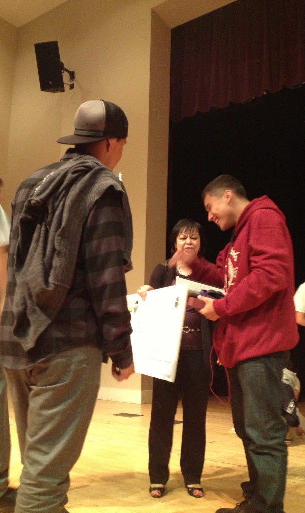 Miguel Angel Frias - 1st Salinas Youth Poet Laureate with friends