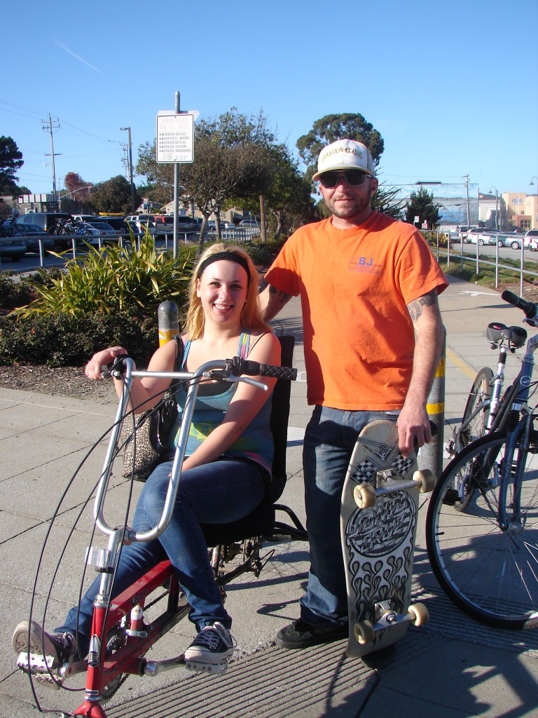Recumbent rider and skateboarder - 1-1-12