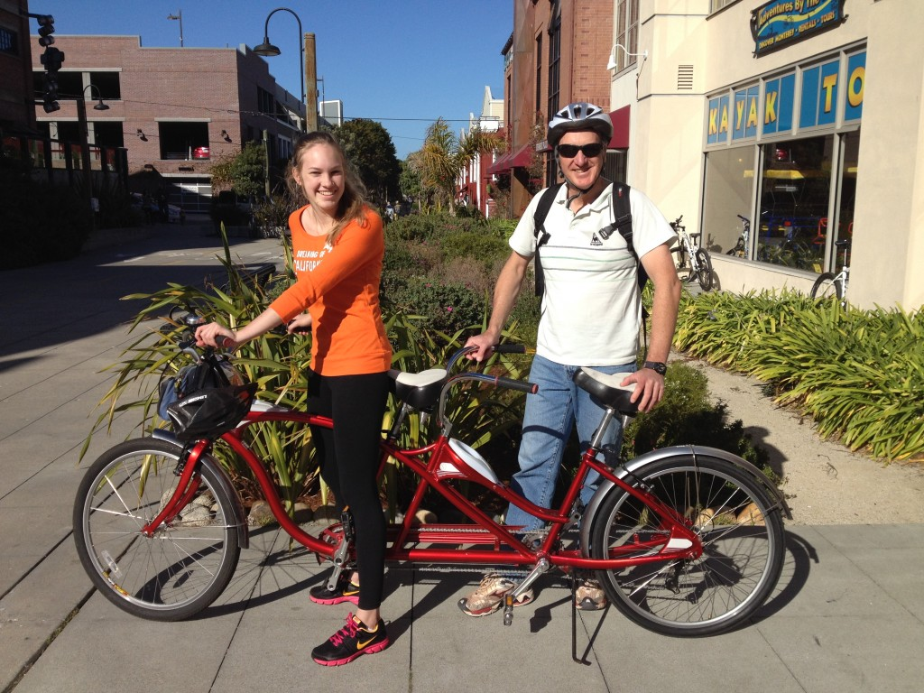 Australian visitors just rented bike on Cannery Row 22 Dec 2013