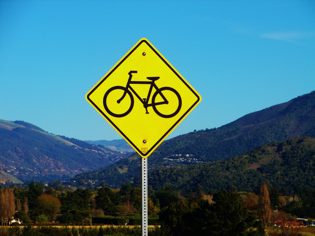 Bike caution sign over Carmel Valley