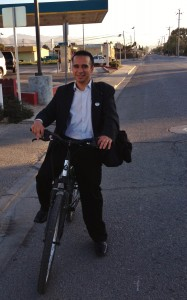 Biking chic - gentleman bike commuter in Greenfield, CA 2012