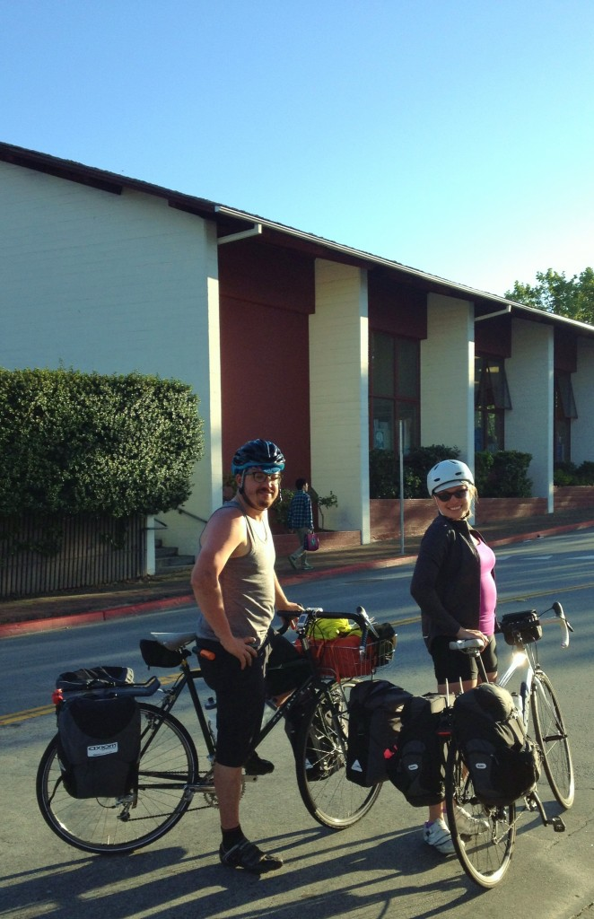 Couple from SF and Oakland biking to Vets Park by library