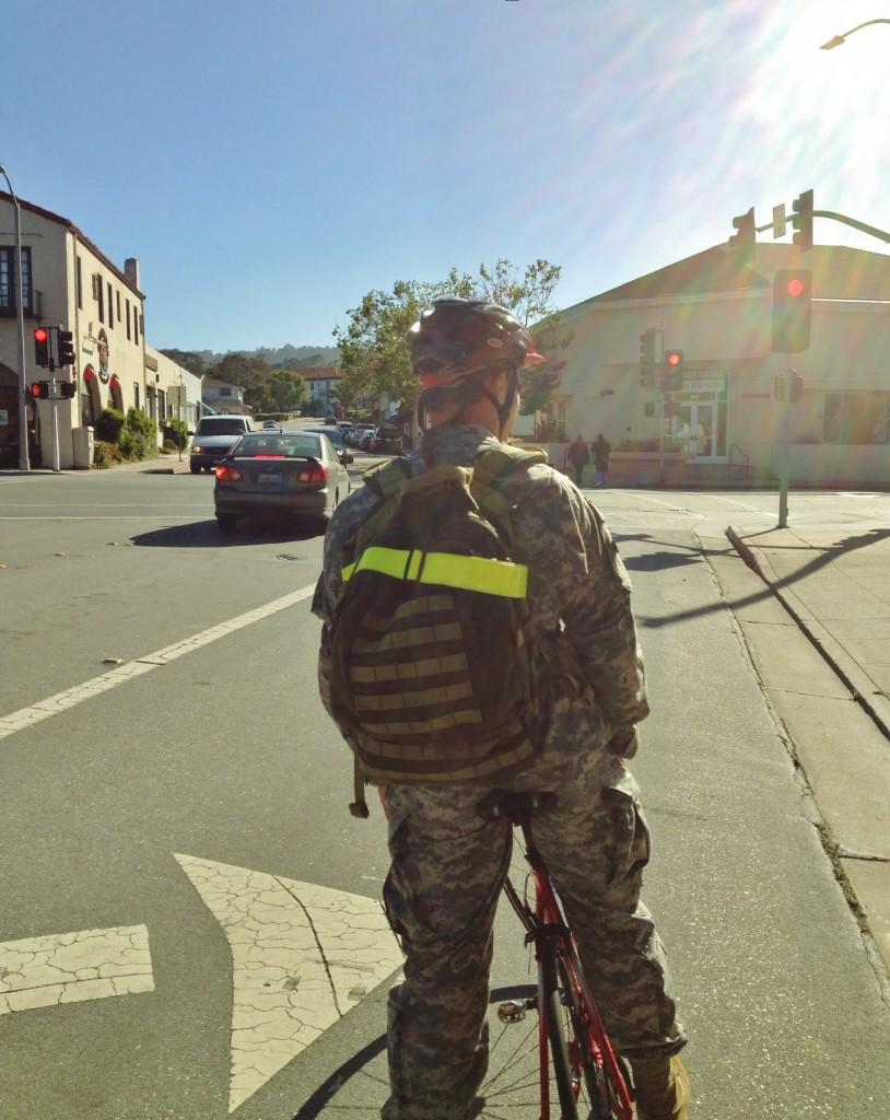 DLI student - hi vis strap in downtown Monterey