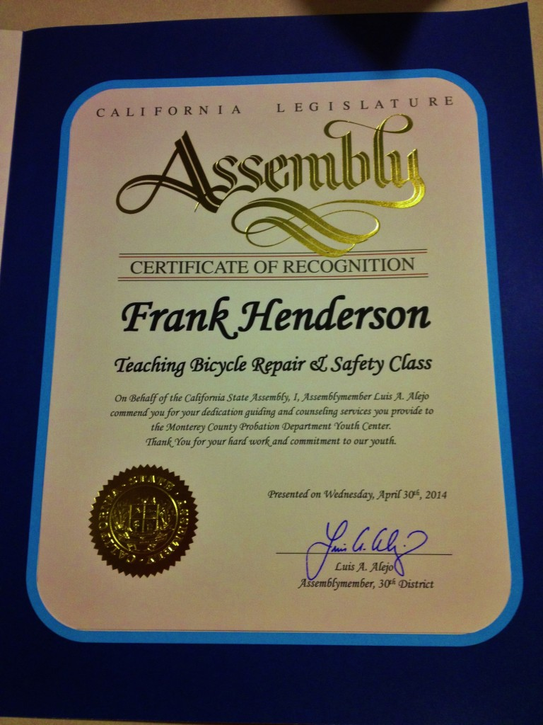 Frank Henderson April 2014 CA Assembly