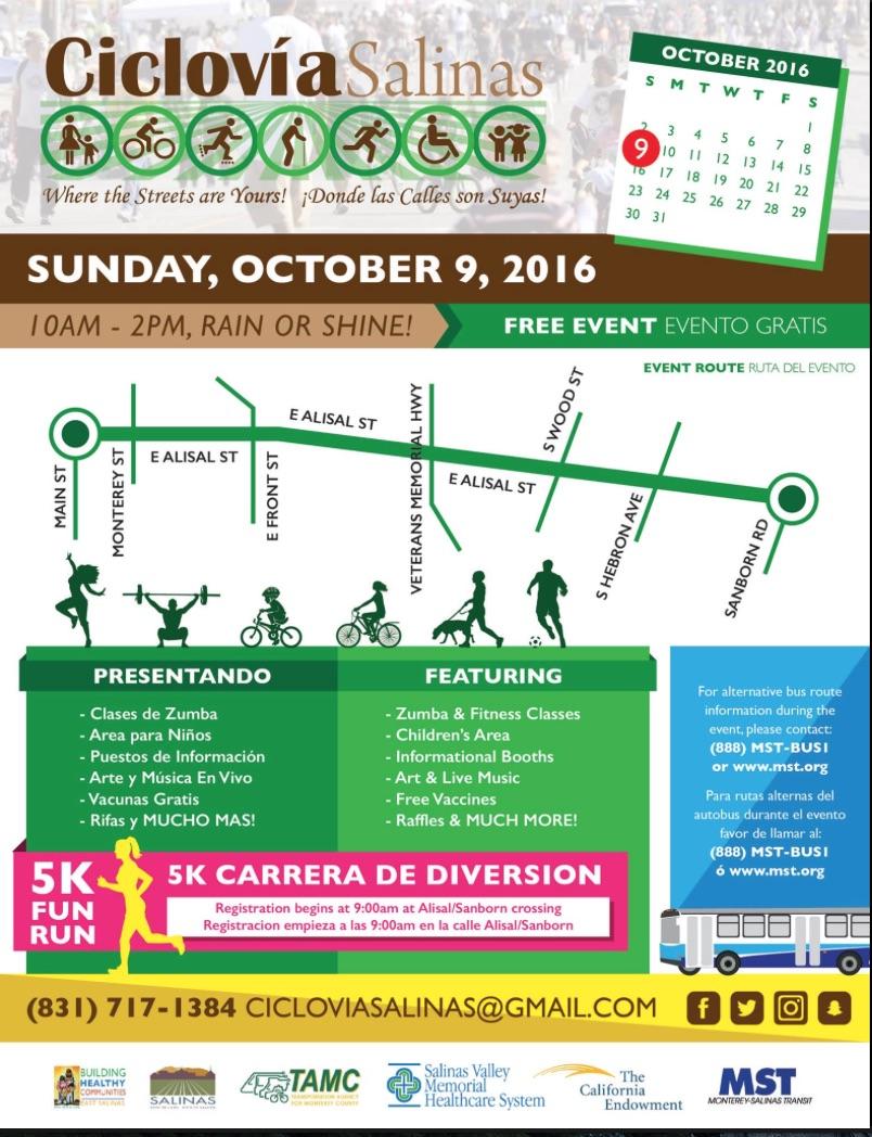 Oct 9 2016 Ciclovia Salinas poster