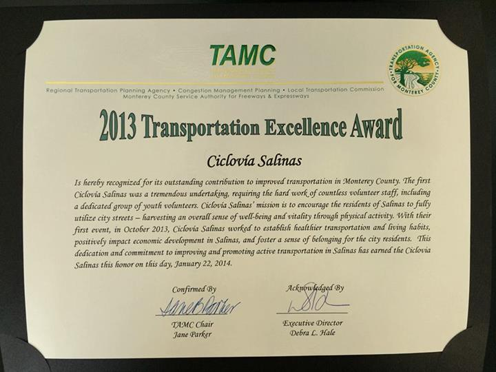 TAMC Transportation Excellence Award 2013 to Ciclovia Salinas