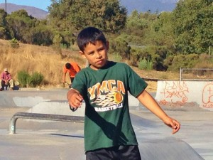 Young YMCA basketball player - at E Salinas skate park